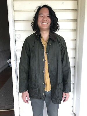Barbour Beaufort Jacket - Men L 42 - Waxed Cotton Green Olive - Made in England