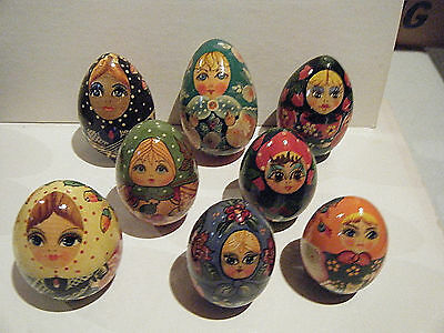 Vintage New Hand Painted Russian Folk Art Laquer Eggs - 13 Total - Russia