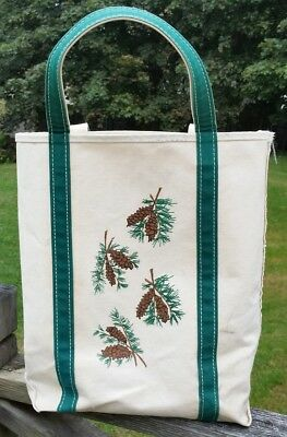 """Vintage  LL Bean BOAT AND TOTE  Canvas Bag with Pinecone Decoration 15"""""""