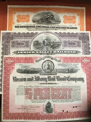 3 Different $1000 Dollar Railroad Bonds.