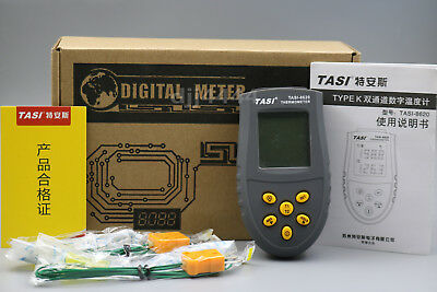 Digital Dual 2 Channel K-Type LED Thermocouple Thermometer Pyrometer TASI-8620