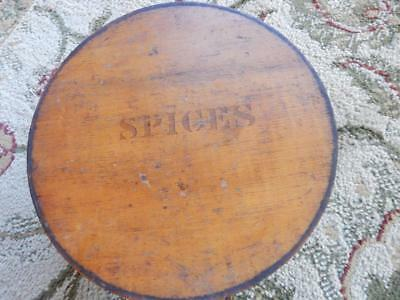 Antique 1800's Round Wooden Spice Box With 8 Smaller Individual Spice Containers