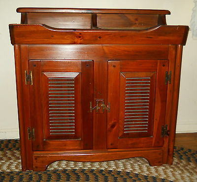 Beautiful Med Finish Vintage 1960's Pine Dry Sink With Removable Copper Insert