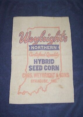 Weybright's INDIANA CORN GROWERS ASSOCIATION vintage corn seed bag  SYRACUSE