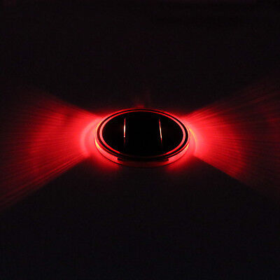 2×Solar Cup Holder Bottom Pad Red LED Light Cover Trim Atmosphere Lamp for Car
