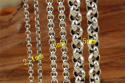 925 Solid Sterling Silver Curb Belcher Chain Bead Necklace 22 24 26 28 30 Inch