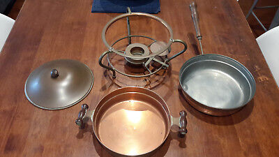 Antique Vintage Copper Chafing Dish Pan Food Warmer Double Boiler Pan & Stand