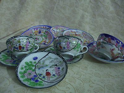 Vintage Chinese Bone China Porcelain mixed tea cup and saucers