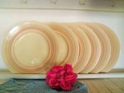 VINTAGE ENTREE PLATES X6 ROYAL DOULTON D5666 ART DECO CREAM see MORE LISTED