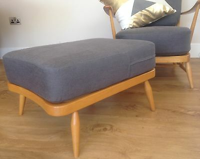 NEW CUSHION FOR AN ERCOL FOOTSTOOL IN GREY WOOL or  LINEN FABRIC CHOICE