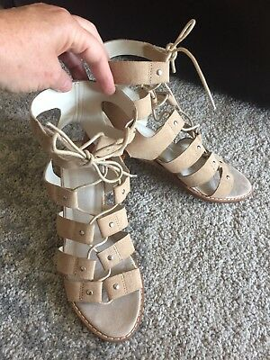 Beige Suede Leather Ankle Tie Sandals Size 9