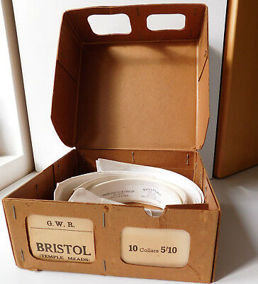 Vintage GWR laundry box Bristol Temple Meads railway 6 shirt collars 1960s