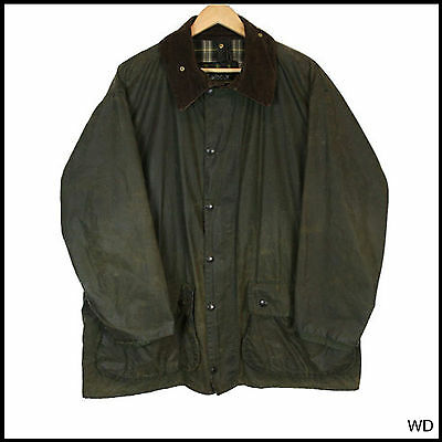 Vintage Barbour Border Country Green Wax Coat Jacket  46 Xxlarge