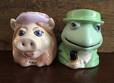 The Muppets Kermit the Frog and Miss Piggy Pottery Coffee Mug Set of 2 Lot 67