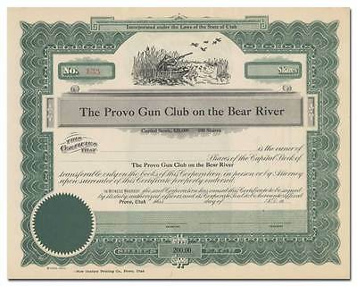 Provo Gun Club on the Bear River Stock Certificate