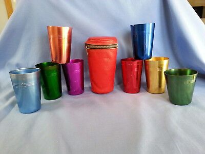 Vintage Anodised Harlequin 8 Cups with case Retro