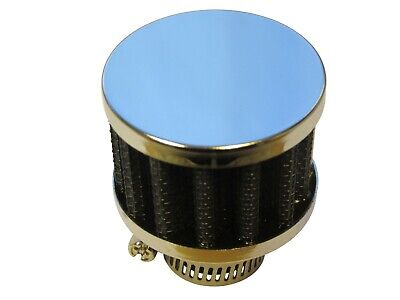 Small Breather Filter 15mm Neck Size (Oil Crankcase Air) 45x34x15mm BLUE/CHROME