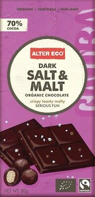 ALTER ECO Choc Dark Salt & Malt 80g