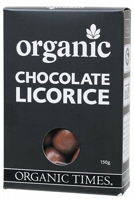 ORGANIC TIMES Milk Choc Licorice 150g