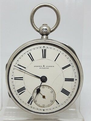 Antique solid silver gents Jones & Jones Porth pocket watch 1896 working