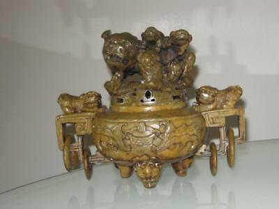 Stunning Chinese Carved Soapstone Foo Dogs Footed Censer