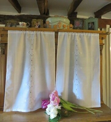 Beautiful Pair Of Vintage French White Cafe Panels / Curtains ~ Country Home