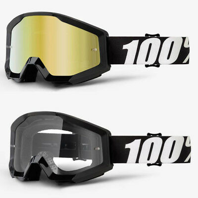 2018 100% Percent Strata Mx Motocross Goggles Outlaw Gold Mirror / Clear Lens