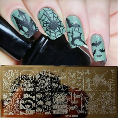 Nail Art Stamping Plates Image Plate HALLOWEEN Pumpins Bat Ghost Witch Boo SP08