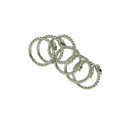 6 Pieces Ring Blanks Cabochon Settings Crafts Twisted Wire Peg Mount Silver