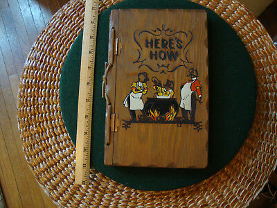 """Vintage wooden covered book """"Here's How"""" to mix drinks  Asheville NC"""