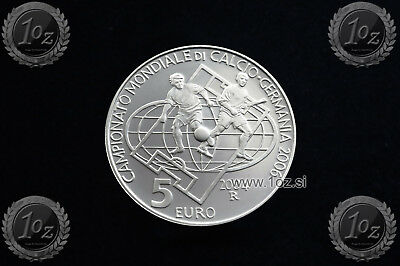 SAN MARINO 5 EURO 2004 (SOCCER WORLD CUP 2006) SILVER Comm. coin (KM# 462) PROOF