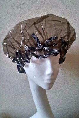Tinted Black shower cap with Tartan Trim