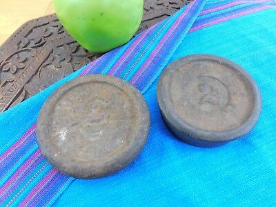 Antique Old Cast Iron No. 2 Lb. Balance Scale Weights - Paperweight