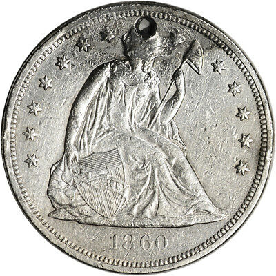1860-O US Seated Liberty Silver Dollar $1 - XF Details - Holed & Damage