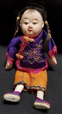 Antique Composition Chinese Boy Doll In Cotton Clothes - 7""