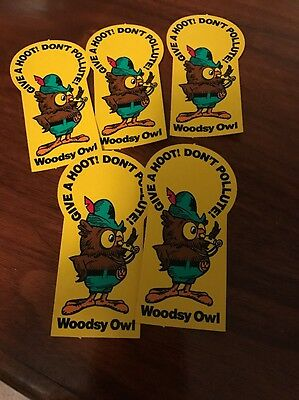 (5) Woodsy Owl Give A Hoot Don't Pollute Stickers 5 Count Vintage
