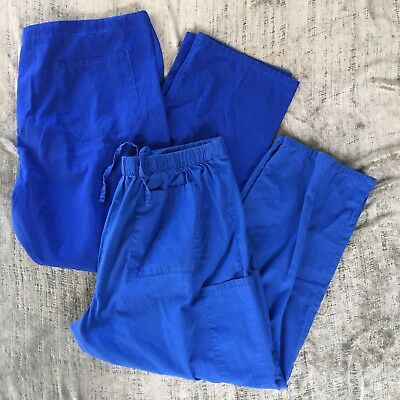 Mixed LOT of 2 Size X Large Scrubs Nurse Pants Bottoms Blue Stretch Size XL