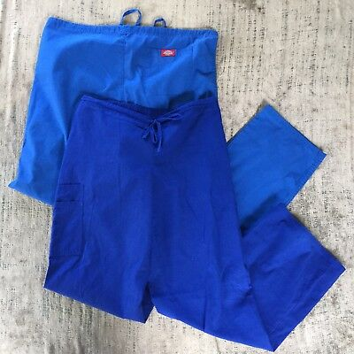 Mixed LOT of 2 Size Medium Scrubs Nurse Pants Bottoms Stretch Blue Size M Tall