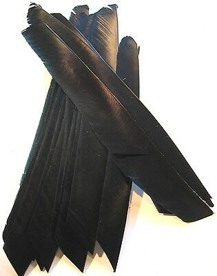 FULL LENGTH FEATHER FLETCHINGS BLACK for Longbow Arrows