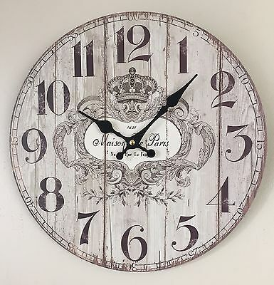 Wooden Wall Clock Shabby Vintage Chic French Rustic Round Maison De Paris Gift
