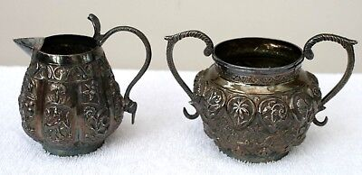 Jug & Bowl Indian Silver Heavily Embossed 9cm Tall