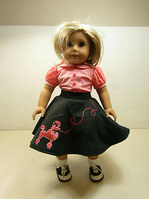 """Pleasant Co. American Girl 18"""" Doll Blonde Blue Eyes + Poodle Skirt Outfit"""