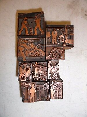 10 Assorted Letterpress Blocks Advertising And Images  Mid Century