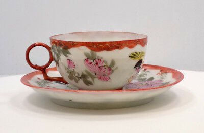 Vintage Small Japanese Hand-Painted Eggshell Porcelain Cup and Saucer