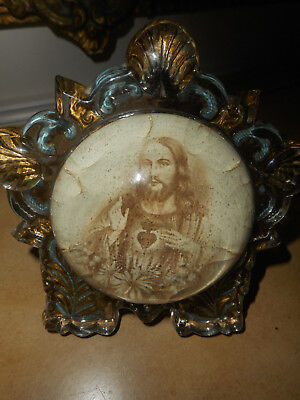 Antique Goofus Glass, Magnify Dome, Wire Stand Sacred Heart Of Jesus Picture