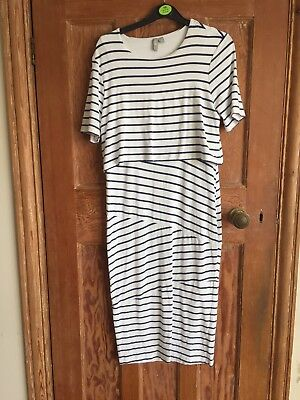 ASOS Maternity and Nursing Dress Blue and White Stripes size 12