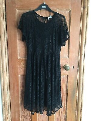 ASOS black lace maternity dress party occasion size 14