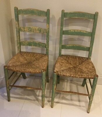 Delightful pair of Antique ladder back country chairs