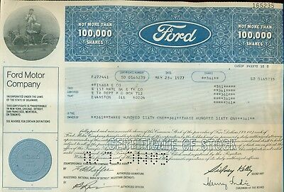 1977 Ford Motor Company Stock Certificate for 361 Shares
