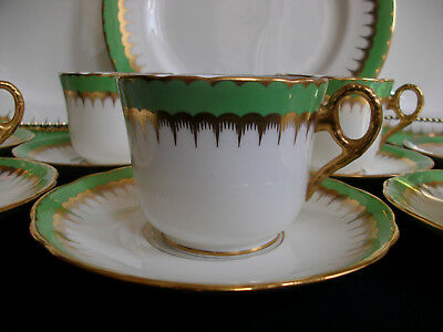 COALPORT SPEARPOINT GREEN (c.1926)- COFFEE CUP & SAUCER- RARE!! EXCELLENT!!